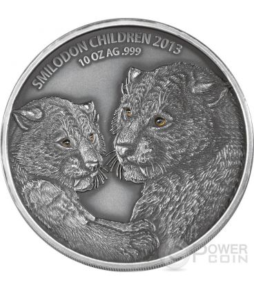 SMILODON CHILDREN Real Eye Animali Preistorici Moneta Argento 10 Oz 5000 Franchi Burkina Faso 2013