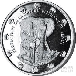 THE BENIN ELEPHANT Proof Protection De La Nature 2 Oz Moneda Plata 1500 Francs Benin 2015