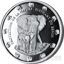 THE BENIN ELEPHANT Proof Protection De La Nature 2 Oz Silver Coin 1500 Francs Benin 2015