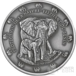 THE BENIN ELEPHANT Antique Finish Protection De La Nature 2 Oz Silver Coin 1500 Francs Benin 2015