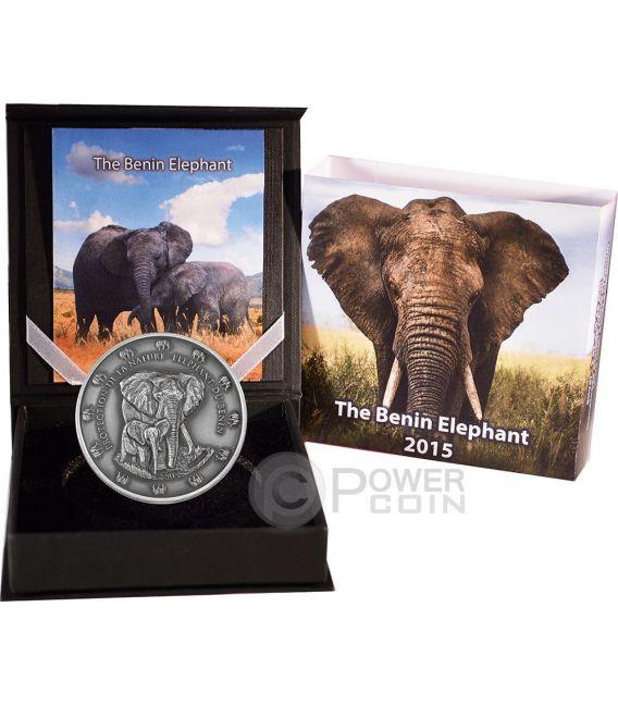 THE BENIN ELEPHANT Anticata Elefante Protection De La Nature Moneta 2 Oz Argento 1500 Franchi Benin 2015