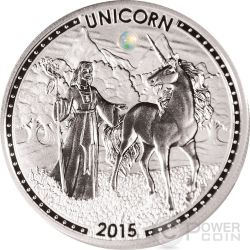 UNICORN Series Opal Gemstone Silver Coin 1000 Francs Cameroon 2015