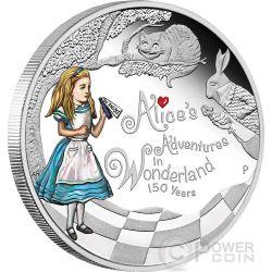 ALICE ADVERTURES IN WONDERLAND 150 Anniversary 1 Oz 1$ Silver Coin Tuvalu 2015