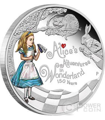 ALICE NEL PAESE DELLE MERAVIGLIE 150 Anniversario Moneta 1 Oz Argento 1$ Tuvalu 2015
