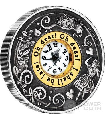 ALICE NEL PAESE DELLE MERAVIGLIE 150 Anniversario Orologio Anticato Moneta 2 Oz Argento 2$ Dollari Tuvalu 2015
