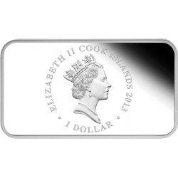 SERPENTE Anno Lunare Set 4 Monete Rettangolari Argento 1$ Cook Islands 2013