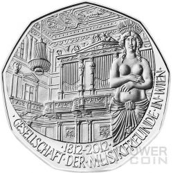 BICENTENARY OF THE SOCIETY OF MUSIC LOVERS 1812 Silver Coin 5€ Euro Austria 2012