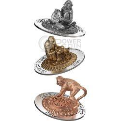 SCIMMIA TRIDIMENSIONALE 3D Monkey Lunar Year Set Monete Argento 500 Franchi Ruanda 2016