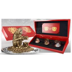 MONKEY THREE DIMENSIONAL 3D Lunar Year Silver Coin Set 500 Francs Rwanda 2016