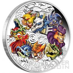 DRAGON AND HIS NINE SONS Dragone Figli Colorato Moneta Argento 5 Oz 5$ Tuvalu 2015