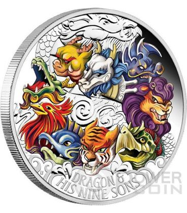 DRAGON AND HIS NINE SONS Colored Chinese Mythology 5 Oz Silver Coin 5$ Tuvalu 2015