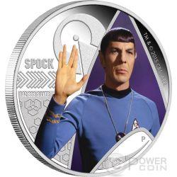 SPOCK Saluto Vulcaniano Star Trek Moneta Argento 1$ Tuvalu 2015