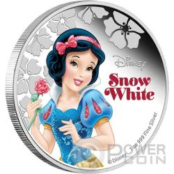 SNOW WHITE Biancaneve Disney Princess Principessa 1 oz Moneta Argento 2$ Niue 2015