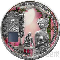 GIULIETTA E ROMEO Juliet 450 Anniversario William Shakespeare Nano Chip Moneta Argento 1 Oz 1000 Franchi Benin 2014