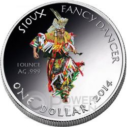 SIOUX Oglala Tribe Fancy Dancer Riserva Indiana Moneta 1 Oz Argento 1$ Dollaro America 2014