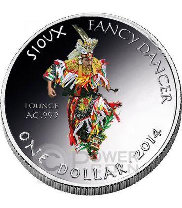 SIOUX Oglala Tribe Fancy Dancer Riserva Indiana Moneta 1 Oz Argento 1$ Dollaro America 2014