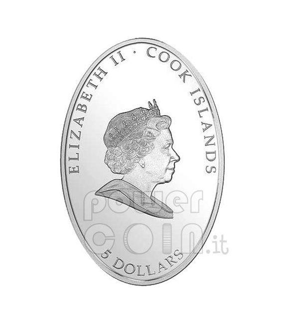 LOURDES Moneta Argento Ologramma Swarovski 5$ Cook Islands 2008