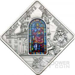 SANTO STEFANO St. Stephen Basilica Budapest Holy Windows Moneta Argento 10$ Palau 2014