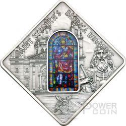 ST. STEPHEN Budapest Basilica Holy Windows Moneda Plata 10$ Palau 2014