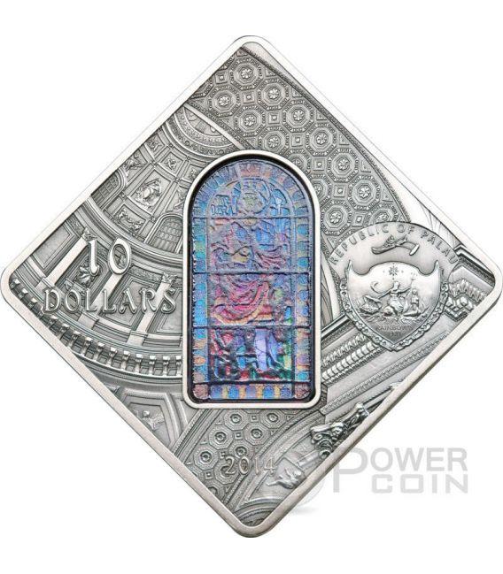 SANTO STEFANO St. Stephen Basilica Budapest Holy Windows Moneta Argento 10$ Palau 2014