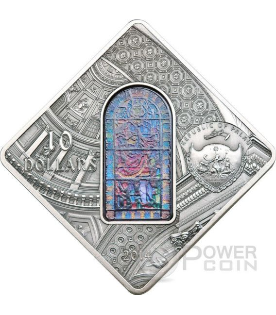 ST. STEPHEN Budapest Basilica Holy Windows Silver Coin 10$ Palau 2014