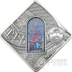 ST. STEPHEN Budapest Basilica Holy Windows Silver Coin 10$ Palau 2014