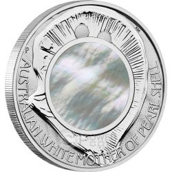 AUSTRALIAN MOTHER PEARL SHELL Oyster White Irridescent 1 oz Moneda Plata 1$ Australia 2015