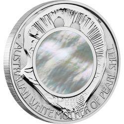 AUSTRALIAN MOTHER PEARL SHELL Oyster White Irridescent 1 oz Серебро Монета 1$ Австралия 2015