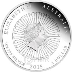 AUSTRALIAN MOTHER PEARL SHELL Oyster White Irridescent 1 oz Silver Coin 1$ Australia 2015