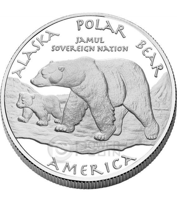 ALASKA POLAR BEAR Eskimo Nativi Americani Moneta 1 Oz Argento 1$ Dollaro Jamul 2015