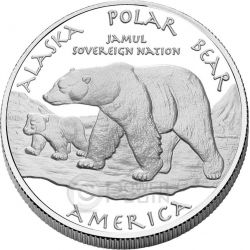 ALASKA POLAR BEAR Eskimo America Native 1 Oz Silver Coin 1$ Dollar Jamul 2015