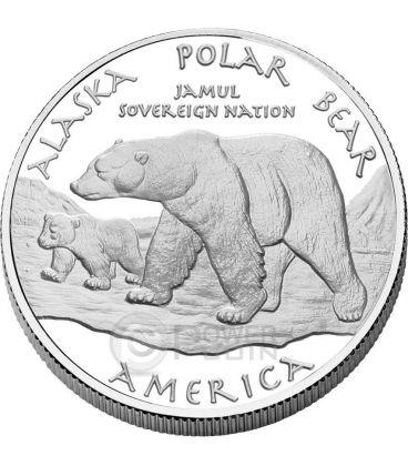 ALASKA POLAR BEAR Eskimo America Native 1 Oz Silver Coin 1$ Dollar Jamul 2015