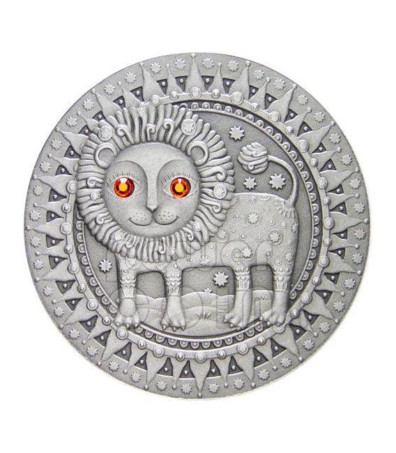 LEONE Oroscopo Zodiaco Swarovski Moneta Argento Bielorussia 2009