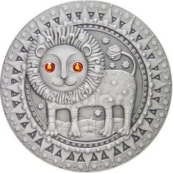 LEO Horoscope Zodiac Swarovski Silber Münze Belarus 2009