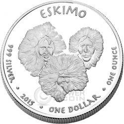 ALASKA POLAR BEAR Eskimo America Native 1 Oz Moneda Plata 1$ Dollar Jamul 2015
