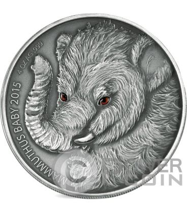 MAMMOTH BABY Real Eyes Prehistoric 4 Oz Silver Coin 5000 Francs Burkina Faso 2015