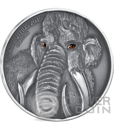 MAMMOTH MOTHER Real Eyes Prehistoric 4 Oz Silver Coin 5000 Francs Burkina Faso 2015