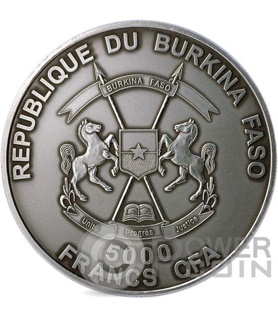 MAMMUT MADRE Real Eye Preistoria Moneta Argento 4 Oz 5000 Franchi Burkina Faso 2015