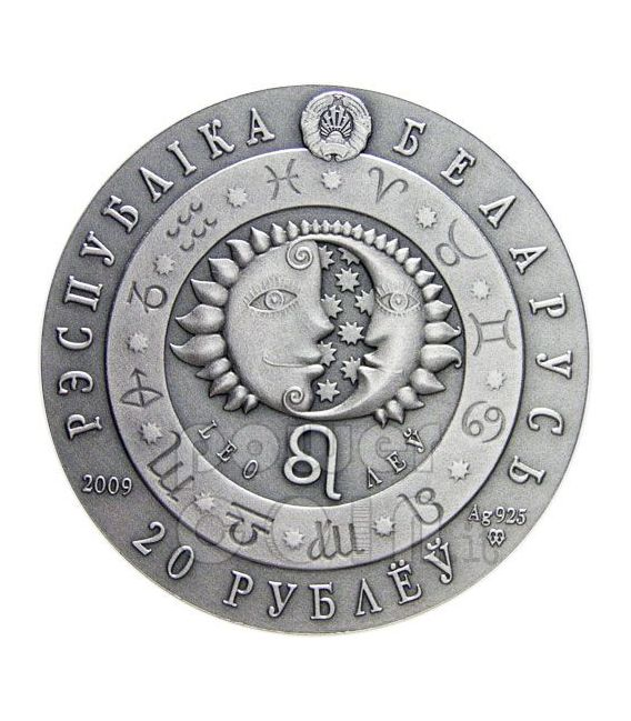 LEO Horoscope Zodiac Swarovski Silver Coin Belarus 2009