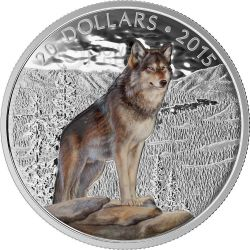 IMPOSING ALPHA WOLF Wildlife Nature Silver Coin 20$ Canada 2015