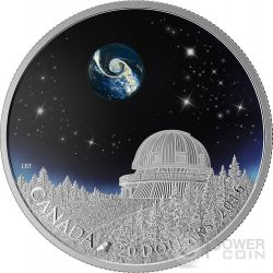 THE UNIVERSE Borosilicate Glass Glow In The Dark Silver Coin 20$ Canada 2016