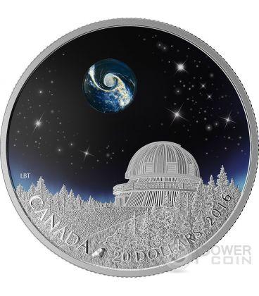 THE UNIVERSE Borosilicate Glass Glow In The Dark Silver Coin 20$ Canada 2016