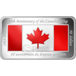 CANADIAN FLAG 50 Anniversary Rectangular Shaped 1.5 Oz Silver Coin 50$ Canada 2015