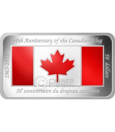 CANADIAN FLAG 50 Anniversary Rectangular Shaped 1.5 Oz Silver Coin 50$ Canada 2015