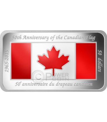 CANADIAN FLAG Bandiera Canadese 50 Anniversario Moneta Rettangolare 1.5 Oz Argento 50$ Canada 2015