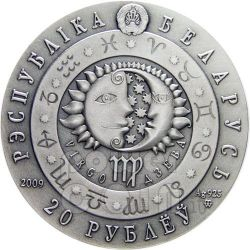 VIRGO Horoscope Zodiac Swarovski Серебро Монета Белоруссия 2009