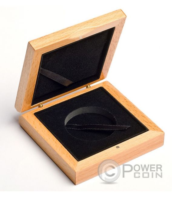 WOODEN COIN BOX Jewel Case Etui Package For Monedas Medals 45 mm