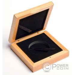 WOODEN COIN BOX Jewel Case Etui Package For Coins Medals 45 mm