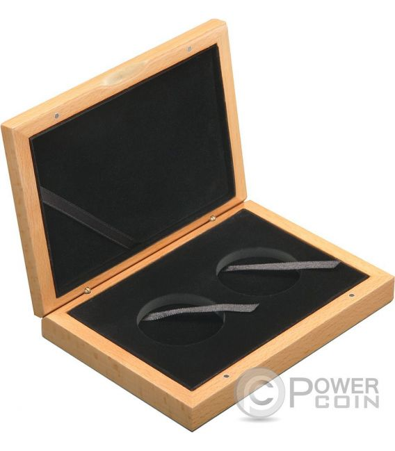 COFANETTO Scatola Legno Per 2 Due Monete Medaglie Coin Wooden Case Box 45 mm