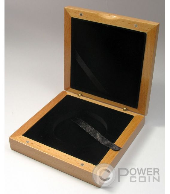 WOODEN COIN BOX Jewel Case Etui Package For Coins Medals 55 mm